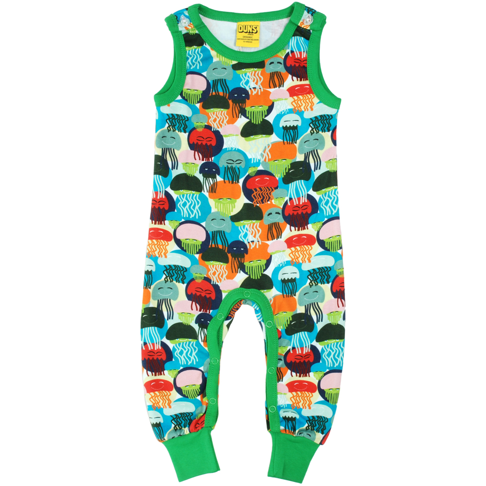 great discount for discount coupon online store DUNS Sweden jellyfish print on green organic cotton dungarees